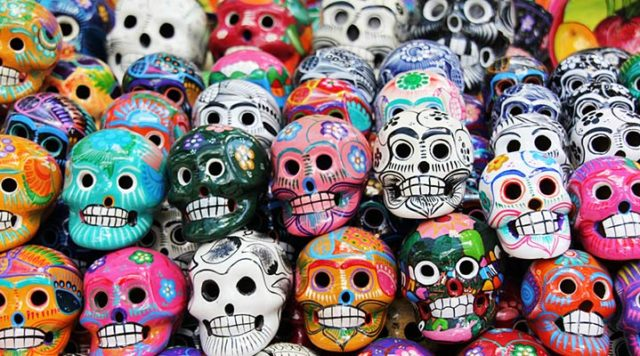 Colorful ceramic skulls