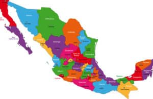 Map of the states of Mexico