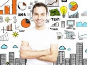 Man with a drawn up business plan