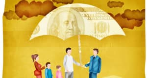 Illustration of a family and a businessman standing under an umbrella with a dollar print