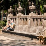 Two men meditating on a bench in Mexico City