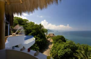 Balcony overlooking ocean in Puerto Vallarta