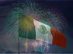 Mexican Flag with fireworks